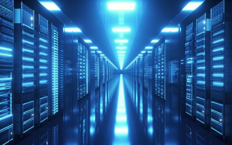 Data center with endless servers. Network and information servers behind glass panels